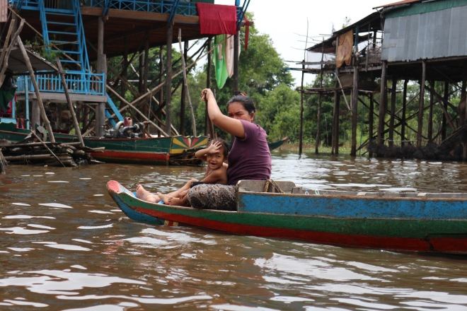 Cambodian Mother and Child on Tonle Sap